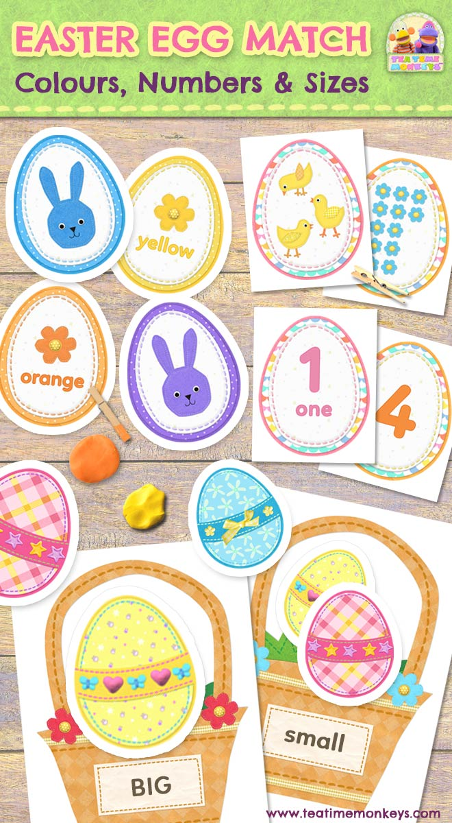 Easter Egg Match: Colours, Numbers & Sizes - Tea Time Monkeys