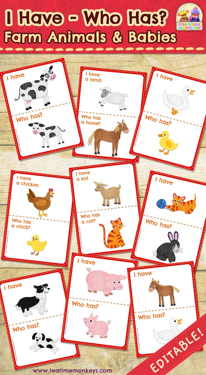 I have - Who Has? Farm Animals and Babies Game - Tea Time Monkeys