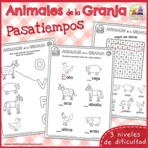 Pasatiempos de los Animales de la Granja - Imprimible Gratis - Tea Time Monkeys