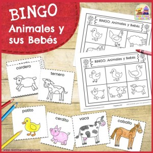 Bingo de Animales y Sus Bebés - Imprimible Gratis - Tea Time Monkeys