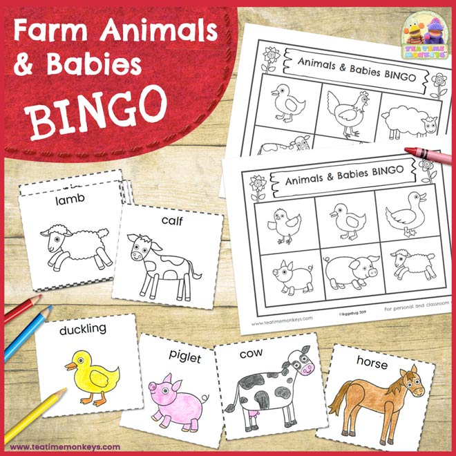 Farm Animals and Babies Bingo Game - Free Printable - Tea Time Monkeys