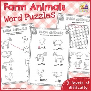 Farm Animals Word Puzzles - Free Printable - Tea Time Monkeys