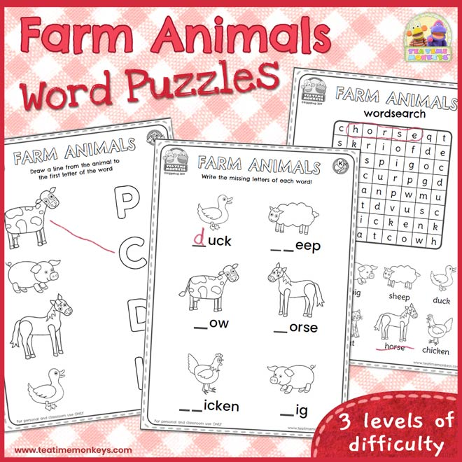 Farm Animals Worksheets and Word Puzzles
