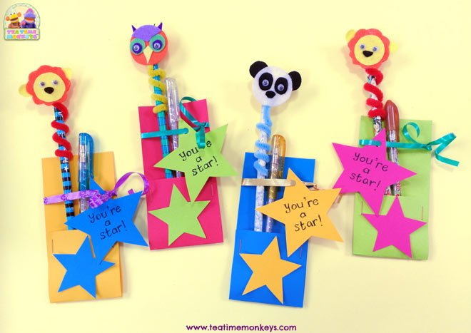 Animal Pencil Toppers - Inexpensive End of Year Gifts for Students - Tea Time Monkeys