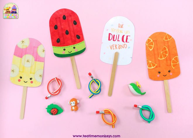 Lapices Flexibles y Mini Gomas - Ideas de Regalos de Fin de Curso para Niños - Tea Time Monkeys