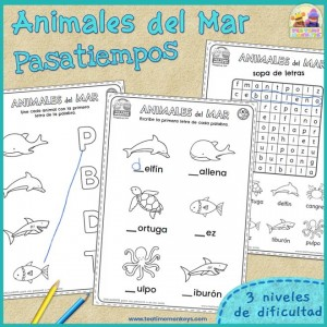 Animales del Mar - Pasatiempos - Imprimible Gratis - Tea Time Monkeys