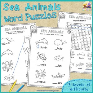 Sea Animals Word Puzzles - Free Printable - Tea Time Monkeys