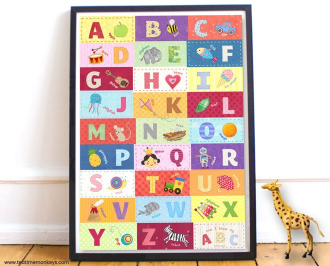 Alphabet Wall Poster - Tea Time Monkeys
