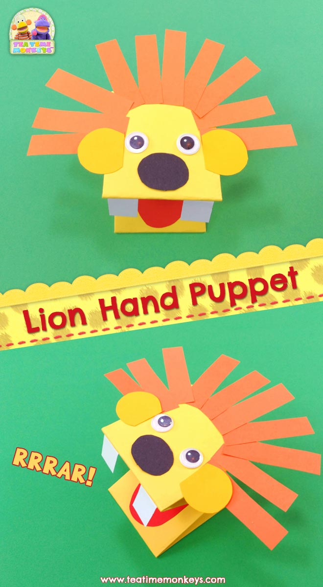 Paper Lion Hand Puppet Craft - Tea Time Monkeys