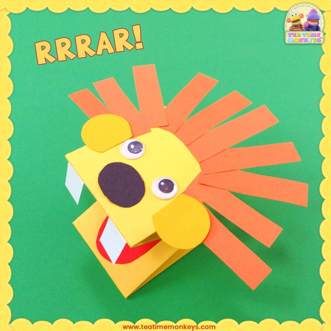 Paper Lion Hand Puppet Craft