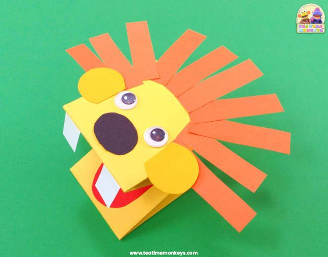 Paper Lion Hand Puppet Craft - Step 5 - Tea Time Monkeys