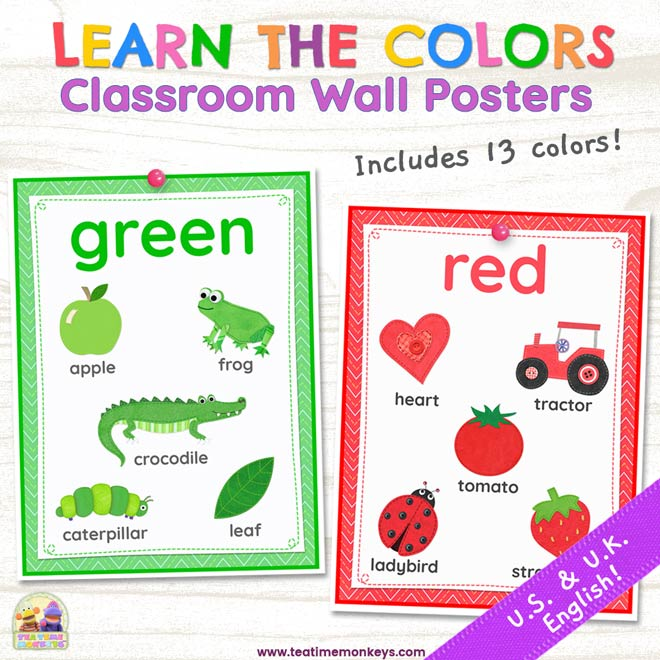 Learn the Colors - Classroom Wall Posters - Tea Time Monkeys