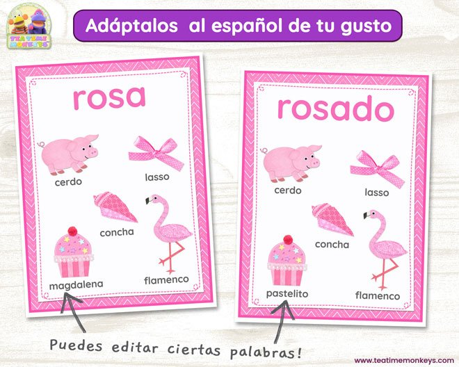 Aprende los Colores - Pósteres - Colours Posters in Spanish - Tea Time Monkeys