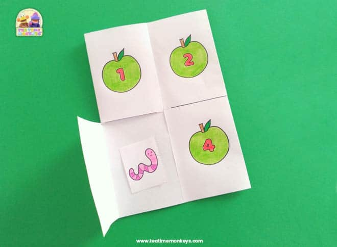 Apple and Worm Hide and Seek - Free Printable - Tea Time Monkeys