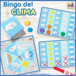 Bingo del Clima - Juego editable de Dado y Ruleta - Tea Time Monkeys