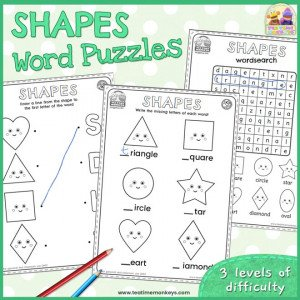 Shapes Worksheets and Word Puzzles - Free Printable - Tea Time Monkeys