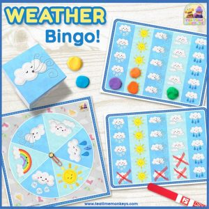 Weather Bingo - Editable Dice/Spinner Game - Tea Time Monkeys