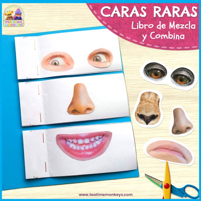 Caras Raras - Libro de Mezcla y Combina - Imprimible Gratis - Tea Time Monkeys