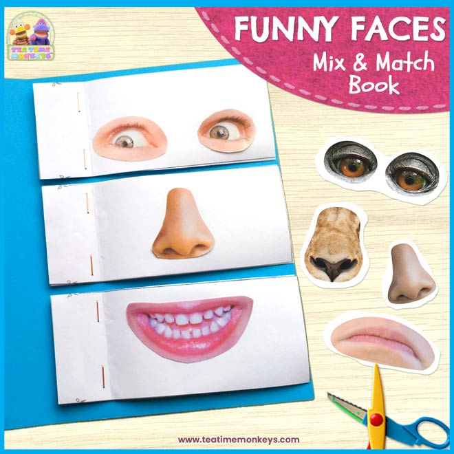 Funny Faces – DIY Mix & Match book with Printable Face Parts