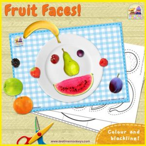 Fruit Faces – Activity Mat with Printable Fruits - Free Printable - Tea Time Monkeys