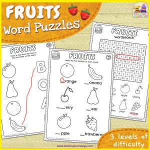 Fruits Worksheet and Word Puzzle Pack - Free Printable - Tea Time Monkeys