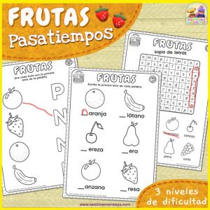 Pasatiempos y Fichas de Frutas - Imprimible Gratis - Tea Time Monkeys