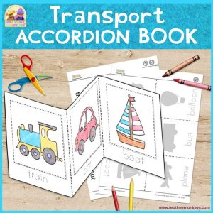 Transport Activity Sheet - Cut & Paste Accordion Book - Free Printable - Tea Time Monkeys