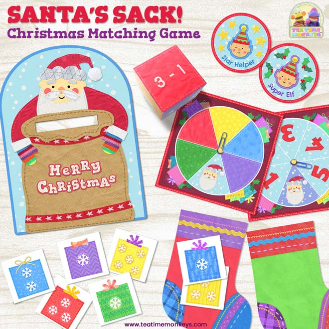 Santa´s Sack - 3 in 1 Christmas Match Game - Tea Time Monkeys