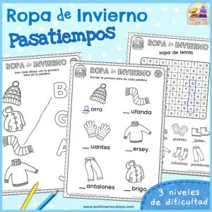 Pasatiempos y Fichas de la Ropa de Invierno - Imprimible Gratis - Tea Time Monkeys