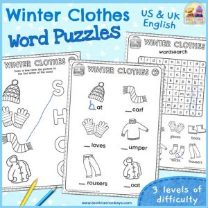 Winter Clothes Word Puzzles - Free Printable - Tea Time Monkeys