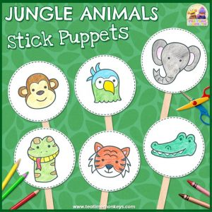 Jungle Animals Stick Puppets - Free Printable - Tea Time Monkeys