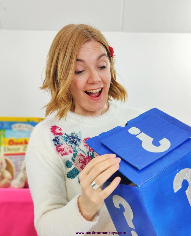 Mystery Box - ESL games for teaching kids online - Tea Time Monkeys