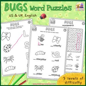 Bugs Worksheets and Word Puzzles - Free Printable - Tea Time Monkeys