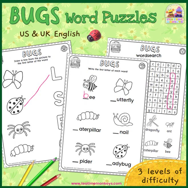 Bugs Worksheets and Word Puzzles