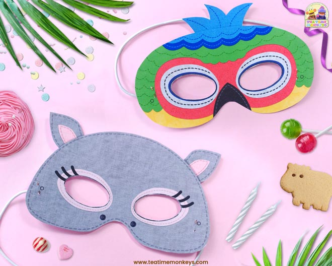 Jungle Animal Masks Printable - Tea Time Monkeys