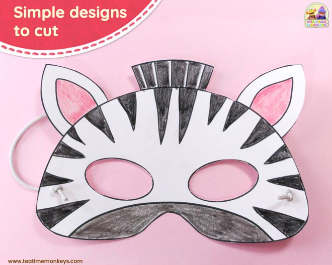 Jungle Animal Masks Printable for Colouring - Tea Time Monkeys