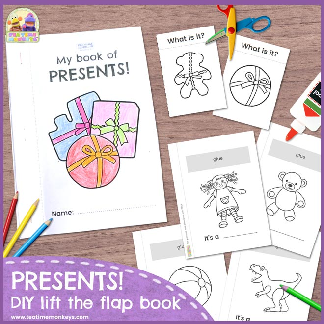 Presents - DIY Lift the Flap Book - Tea Time Monkeys