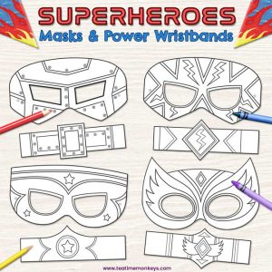 Printable Superhero Masks & Wristbands for Colouring