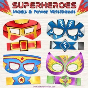 Printable Superhero Masks and Power Wristbands