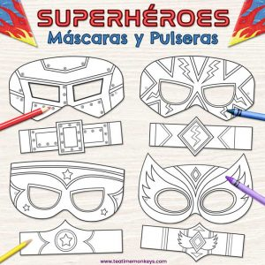 Máscaras de Superhéroes para Colorear