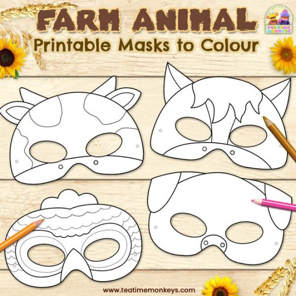 Printable Farm Animal Masks to Colour - Tea Time Monkeys
