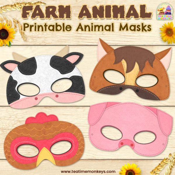 Printable Farm Animal Masks - Tea Time Monkeys