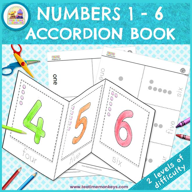 Numbers 1 to 6 Accordion Book - Free Printable - Tea Time Monkeys